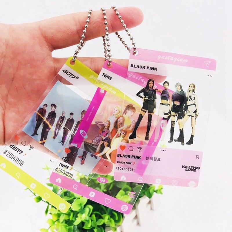 Blackpink Got7 Seventeen Photo Card Chain Keychain Pendant PVC Transparent Card Key Hanging