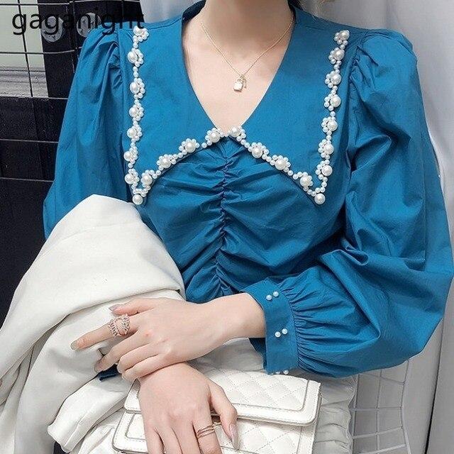 Gaganight Fashion Women Beading Blouse Solid Long Sleeve Shirt Office Lady Spring Autumn Blusas Chic Korean Blouses Slim Shirts 1