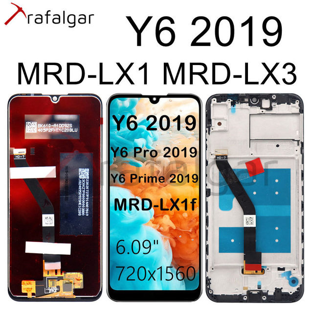 Trafalgar Display For HUAWEI Y6 2019 LCD Display Touch Screen For Huawei Y6 Prime 2019 Display With Frame Y6 Pro 2019 MRD LX1f