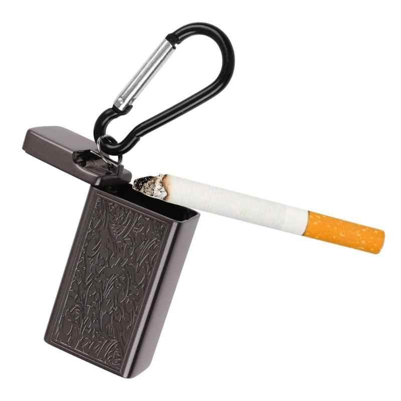 Cenicero de bolsillo de metal Mini Cenicero de cigarrillos portátil llavero uso al aire libre bolsillo fumar Cenicero con tapa llavero para viaje