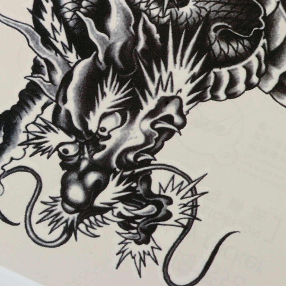 AACAR 1 pieza tatuajes temporales 3D dragón negro temporario removible resistente al agua tatuaje brazo pierna pegatina artística
