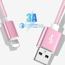 25cm 1m 2m 3m Data USB Charger Cable For iPhone 6s 6 s 7 8 Plus Xs Max XR X  iPad Nylon Fast Charging Origin Long Wire Cord
