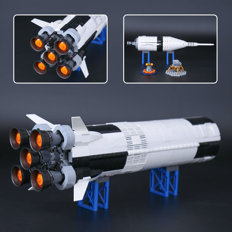 IDEAS Compatible 21309 Apollo Saturns V Space Launch Model Rocket program Kids Christmas Gifts Science Building Kit 2