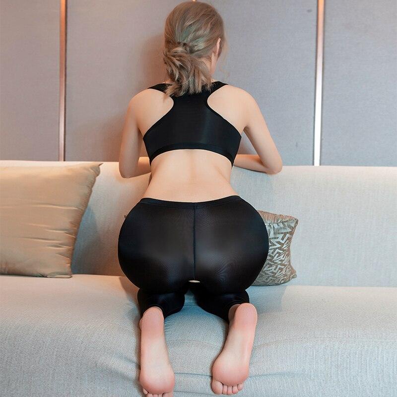 Ice Silk Transparent Women Erotic Costume Open Crotch See Through Pencil Pants Sexy Fitness Vest High Elastic Bedroom Yoga Pants