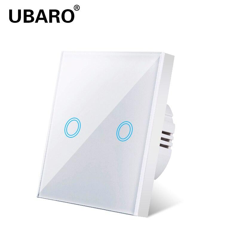 UBARO Touch Light Switch Eu Standard White Crystal Touch Sensitive Switch Light Switch Ac220v 2 Gang  2Way Wall Touch Switch