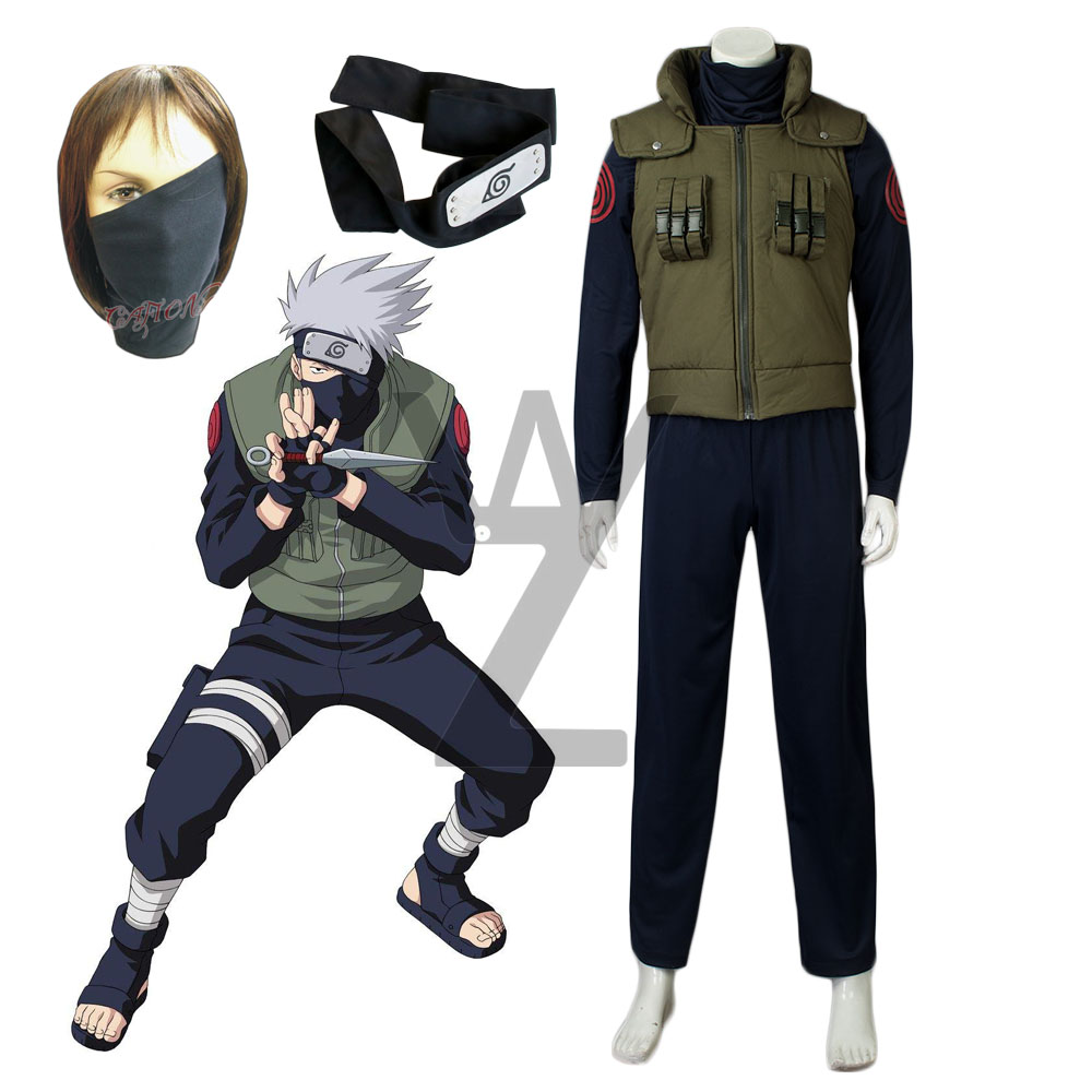 Cheap Halloween Costume Anime Naruto Hatake Kakashi Cosplay Costume Halloween Outfits Vest Shirt And Pants Mask Gift