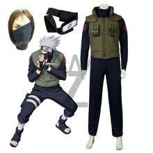 Barato traje de halloween anime naruto hatake kakashi cosplay traje roupas de halloween colete camisa e calças máscara presente