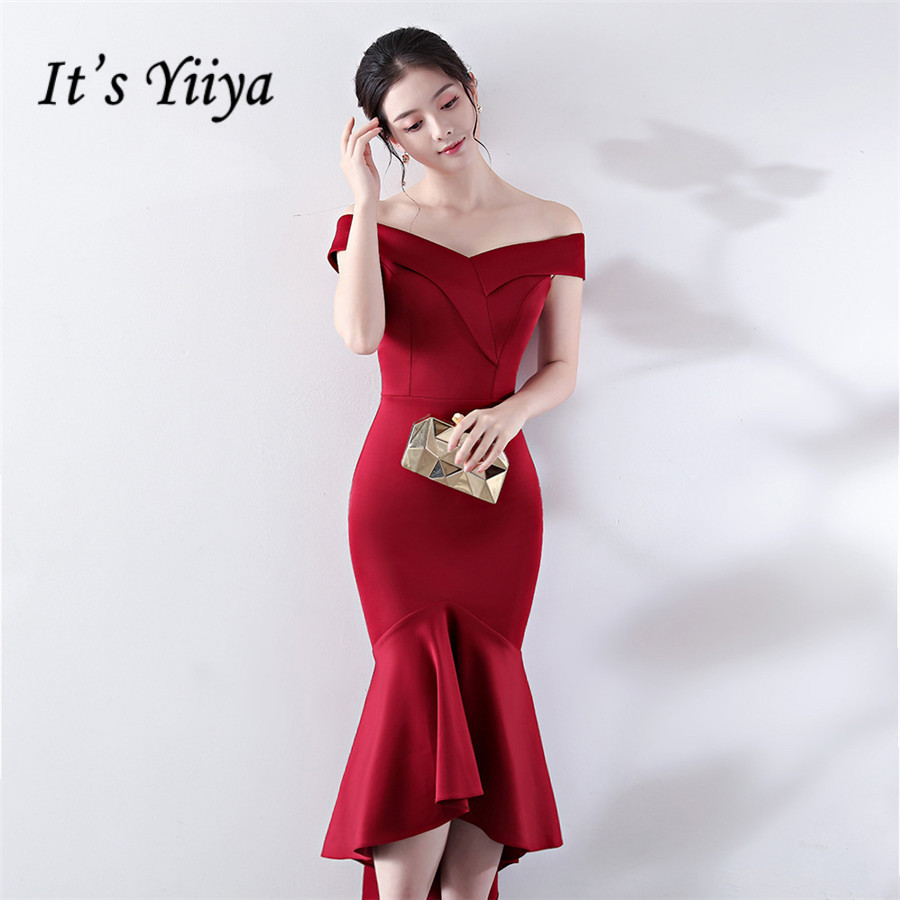 Mermaid Prom Dress It's Yiiya DX366 Off The Shoulder Short Sleeve Plus Size Vestidos De Gala Boat Neck Zipper Prom Dresses 2020