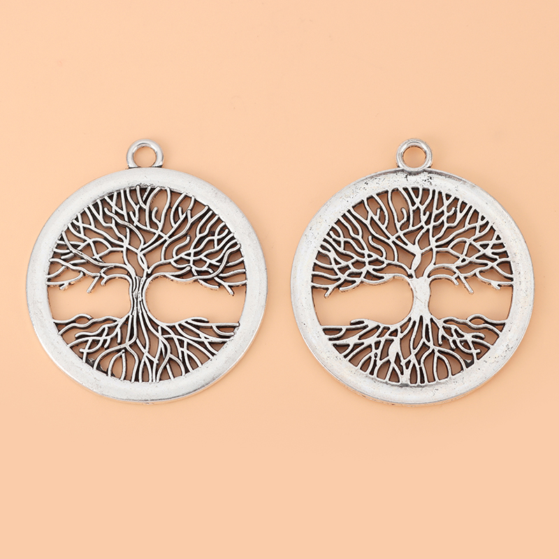 10pcs/Lot Large Life Tree Round Tibetan Silver Charms Pendants Hollow Open for Necklace Jewelry Making Accessories