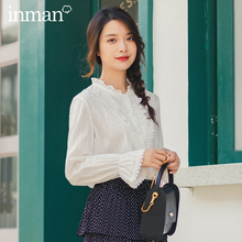 INMAN 2020 Spring New Arrival Sweet Literary Style Stand Collar Flare Long Sleeve Embroidery Women Blouse