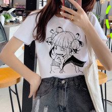 Ahegao Print T Shirt Women Harajuku Ullzang Senpai T-shirt Himiko Toga Boku No Hero Academia Graphic 90s Fashion Top Tees Female(China)