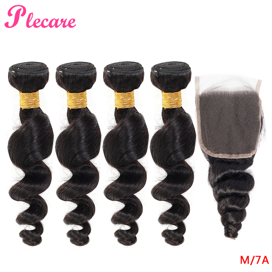 Plecare 4 pacotes com fechamento onda solta brasileira 100% tecer cabelo humano 8-30 Polegada pacotes de cor natural não remy relação média