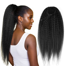 Ponytail-Extensions Human-Hair Afro Drawstring Clip-Ins Kinky Straight Brazilian Real