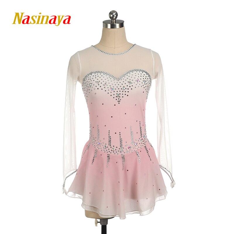 Figure Skating Costume Dress Customized Showwear Ice Skating Skirt for Girl Women Kids Patinaje Gymnastics Performance pink