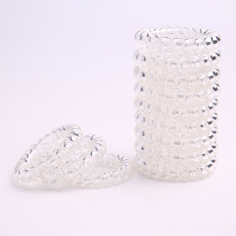 Lot 100Pcs Size 5.5CM Transparent Telephone Hair Band For Girl Accessories Springs Line