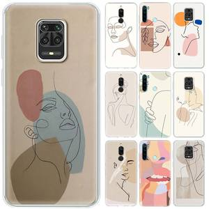 Line Art Face Case for Xiaomi Redmi Note 9S 9 Pro 7 8 Pro 8T cover for Redmi 7A 8A 9A 9C 9i tpu soft Phone Shell Capa