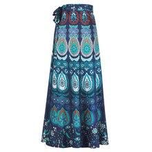 African Print Long Wrap Skirt Women Summer High Waist Floor Length Skir