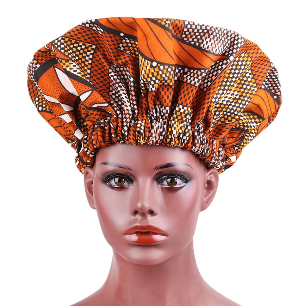 Women Satin Lined Turban Double Layer Elastic Large Printing Ankara Pattern African Bonnet