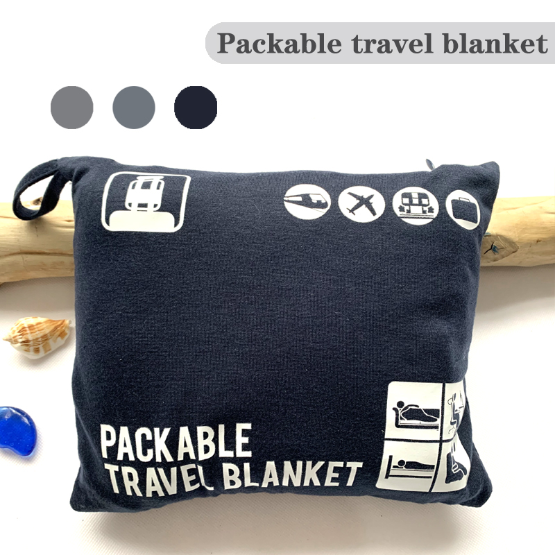 Packable Travel Blanket Jersey Plush Blanket  Super Soft Warm Outdoor Adult Airplane Blankets Sheet Bedspread Sofa Plaid Throw