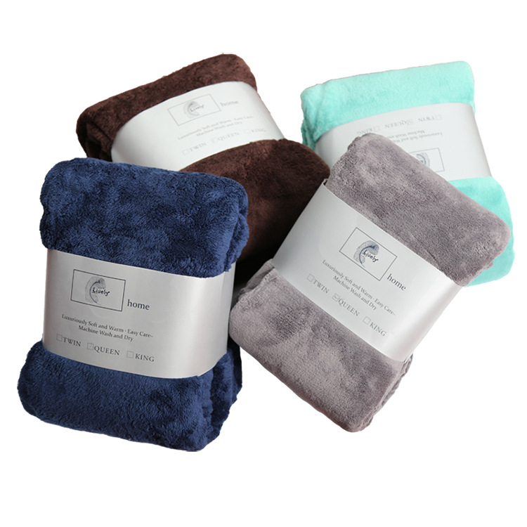 Currently Available Wholesale Lively Hair Shu Velveteen Blanket Ultra-Soft Double-sided Plush shuang ren tan plus Velvet Sheet B