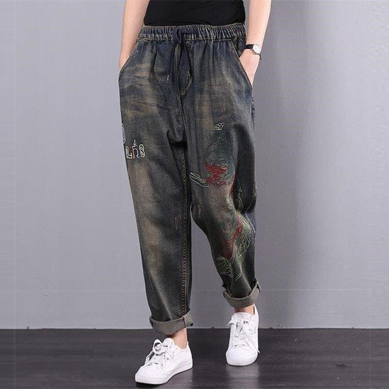 Autumn Winter Arts Style Women Elastic Waist Harem Pants  Embroidery Loose Vintage Jeans Cotton Casual Denim Pants Big Size D427