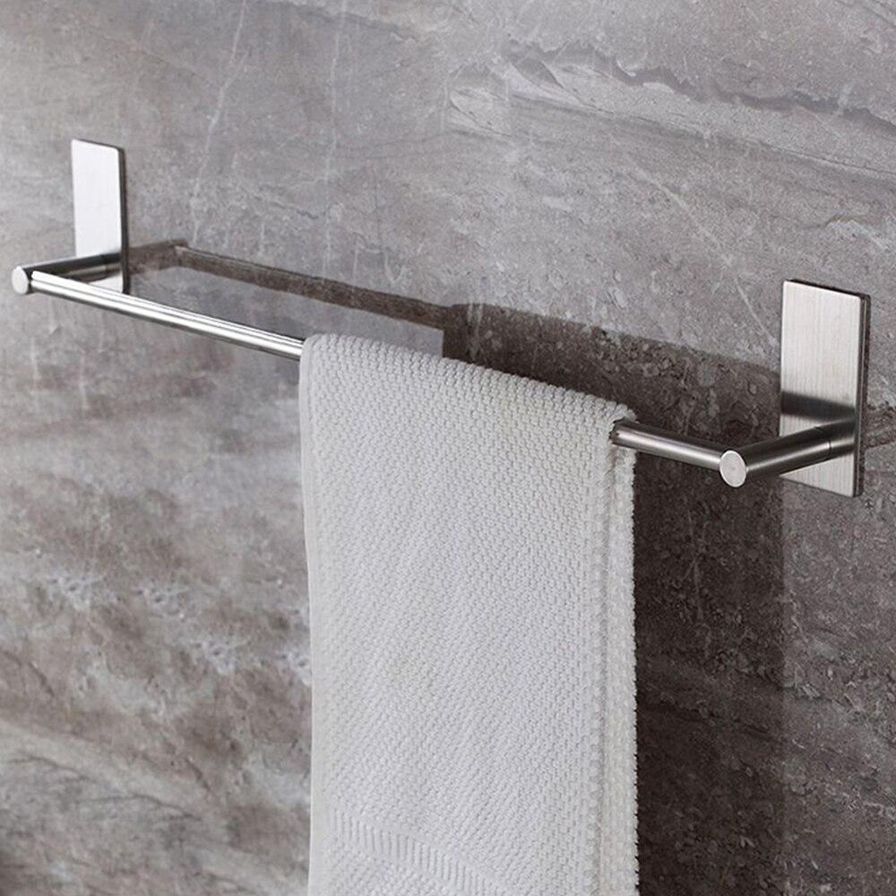 Stainless Steel Fixed Bath Towel Holder Bathroom Towel Bar Wall Mounted Towel Rack Hanger Single Hook Dual Towel Racks 55/40CM