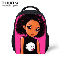 THIKIN Kawaii American Art Black GirlsChildren School Bags Baby Kindergarten Backpack Toddlers Backpack Cartoon Kids Gift Bags