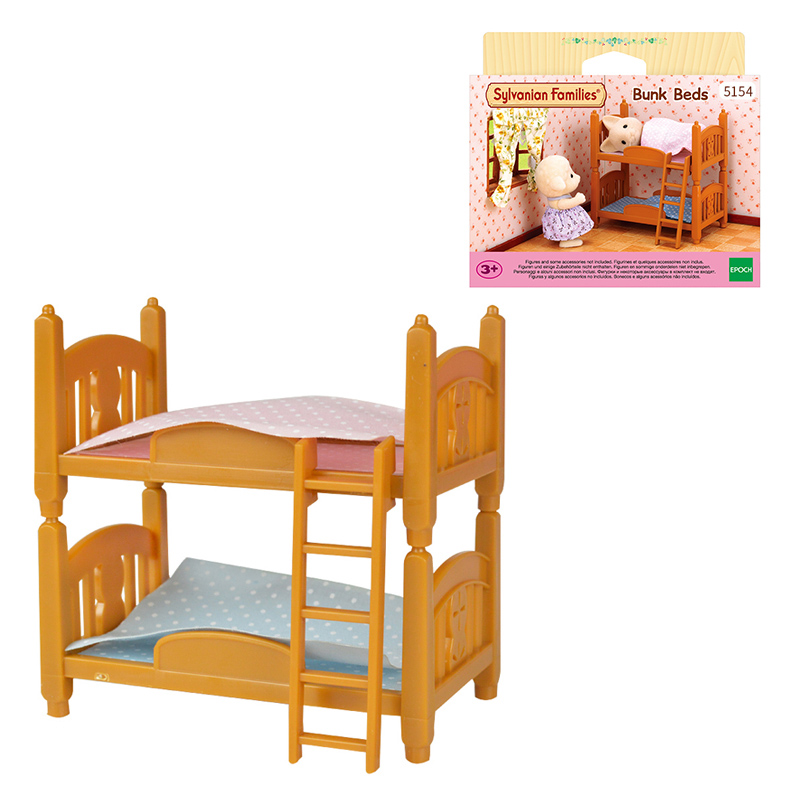 Single Bunk Bed and Semi-Double Bed 2 Sylvanian Families Sets 2 Beds