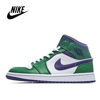Orijinal NIke Air Jordan 1 Orta Hulk Erkek Ve Kadın Basketbol Ayakkabıları Boyutu 36-45 554724-300