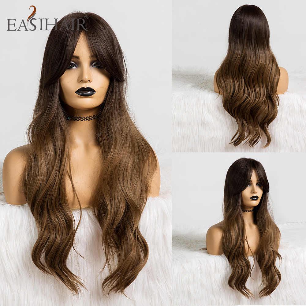 Easihair Panjang Ombre Coklat Bergelombang Sintetis Wig untuk Wanita Wig dengan Poni Tahan Panas Pirang Cosplay Wig Harian Rambut Alami