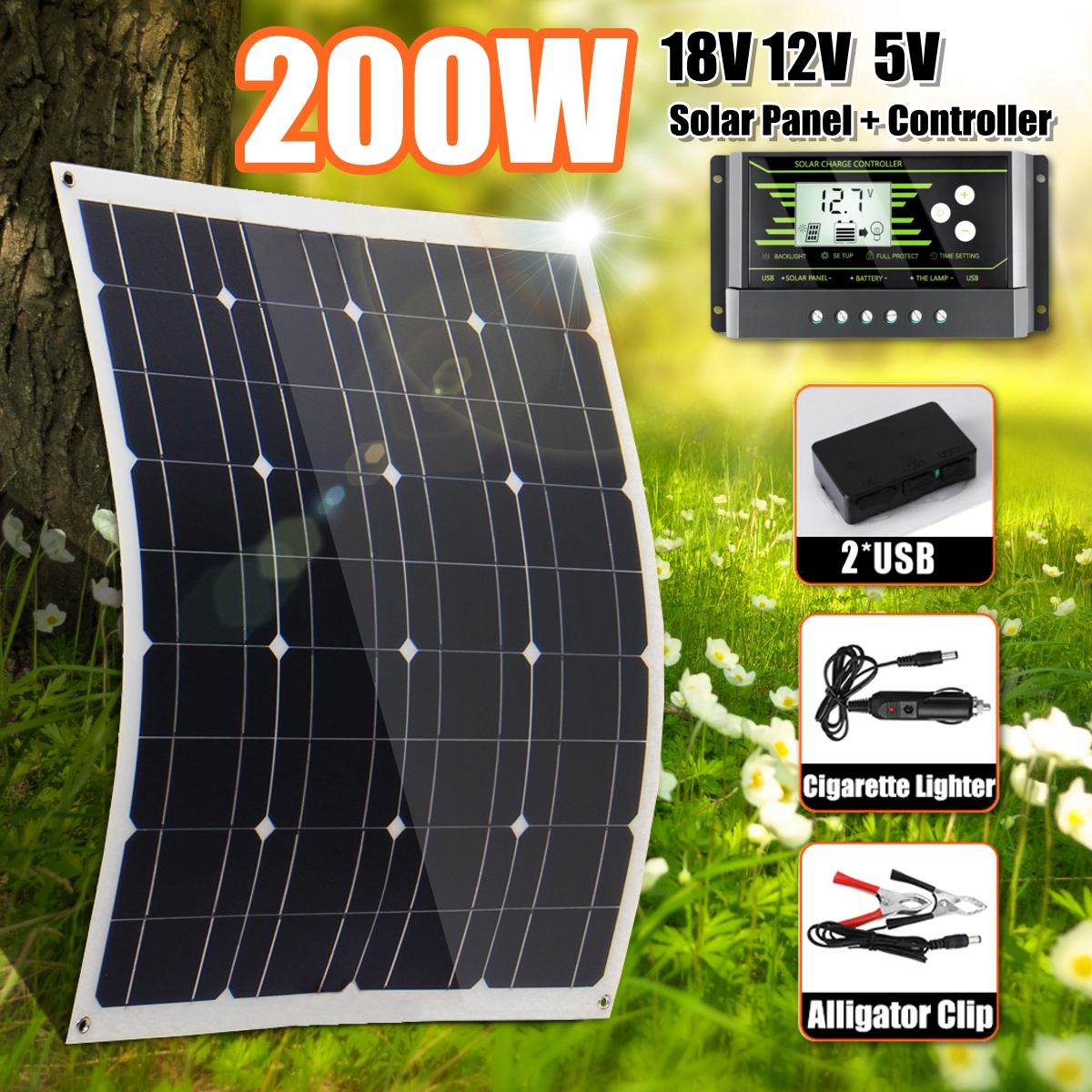 Hot <font><b>200W</b></font> <font><b>Solar</b></font> <font><b>Panel</b></font> With 10/20/30A Controller Dual USB <font><b>Solar</b></font> Cells Regulator Controller ect for car yacht RV Lights Charge image