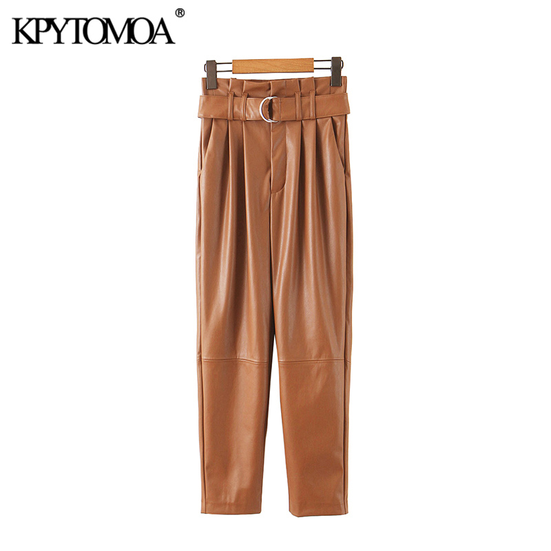 Vintage Stylish PU Faux Leather With Belt Pants Women 2020 Fashion Paperbag High Waist Pockets Female Ankle Trousers Pantalones