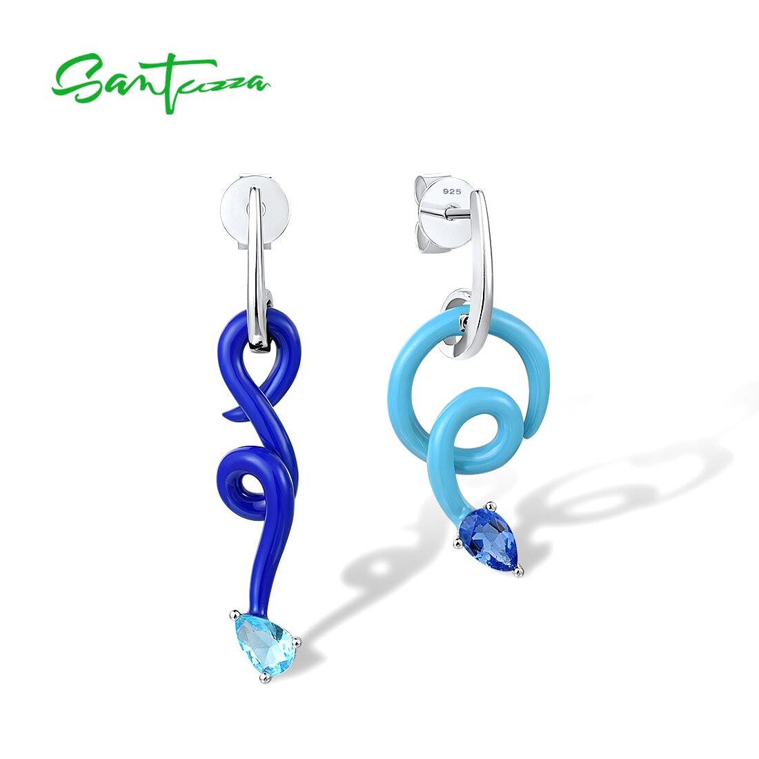 Ungewöhnliche, moderne, asymmetrische blaue Ohrhänger | 925 Ohrringe 925 Ohrstecker hängend Abstrakt