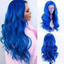 Харизма синий парик длинные волнистые волосы высокотемпературное Волокно синтетический кружевной передний парик с боковой частью кружевн...