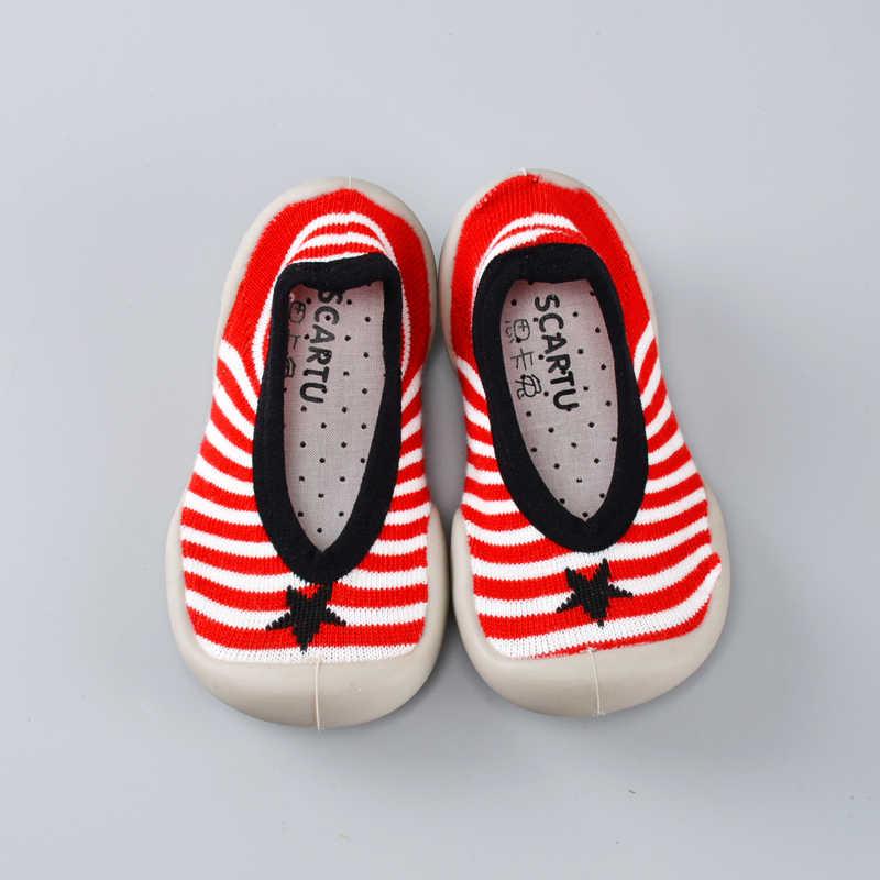 Zapatos medias para bebé calcetines transpirables ligeros de dibujos animados para niños Zapatillas Mocasines de piso para niños zapatillas para caminar rojo anaranjado