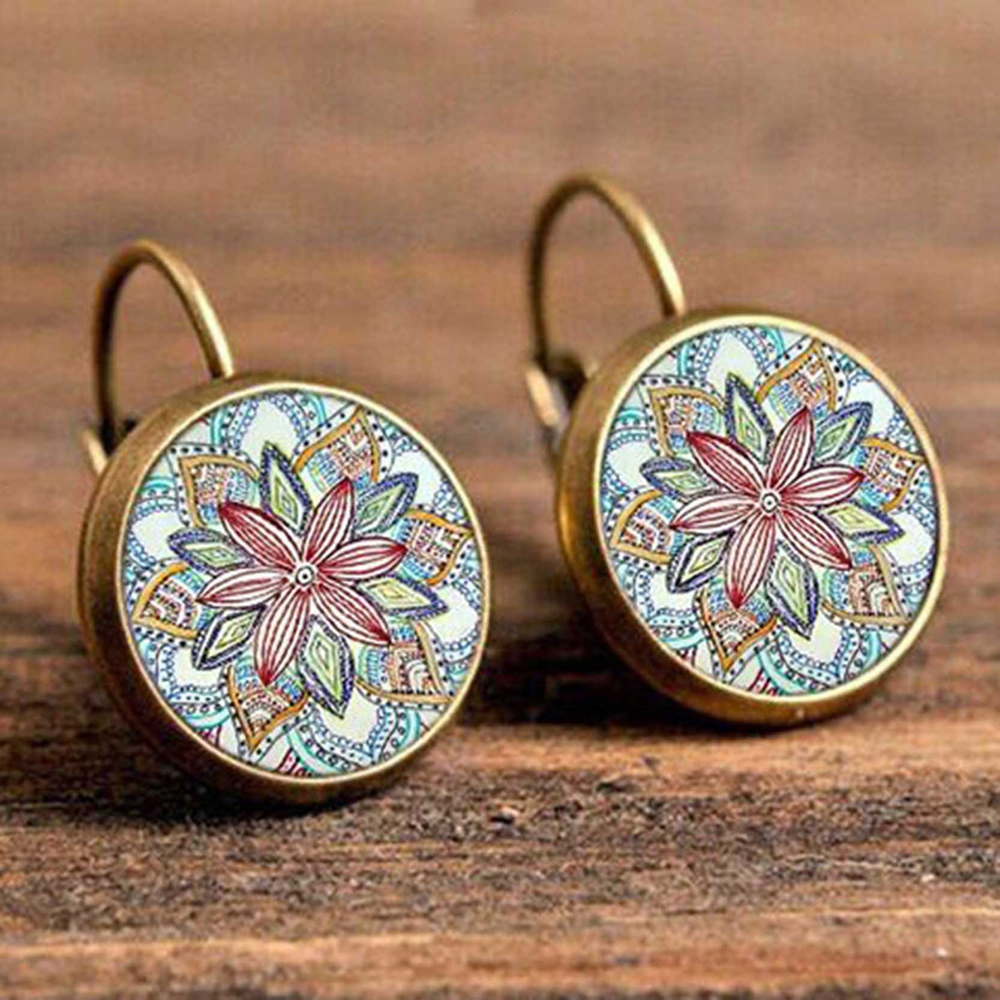 H9d933e9fd9a24a5d84e4932d63799939m - FSUNION Boho Flower Drop Earrings For Women Vintage Jewelry Geometric Pattern Round Earings Bijoux boucles d'oreilles bohemia