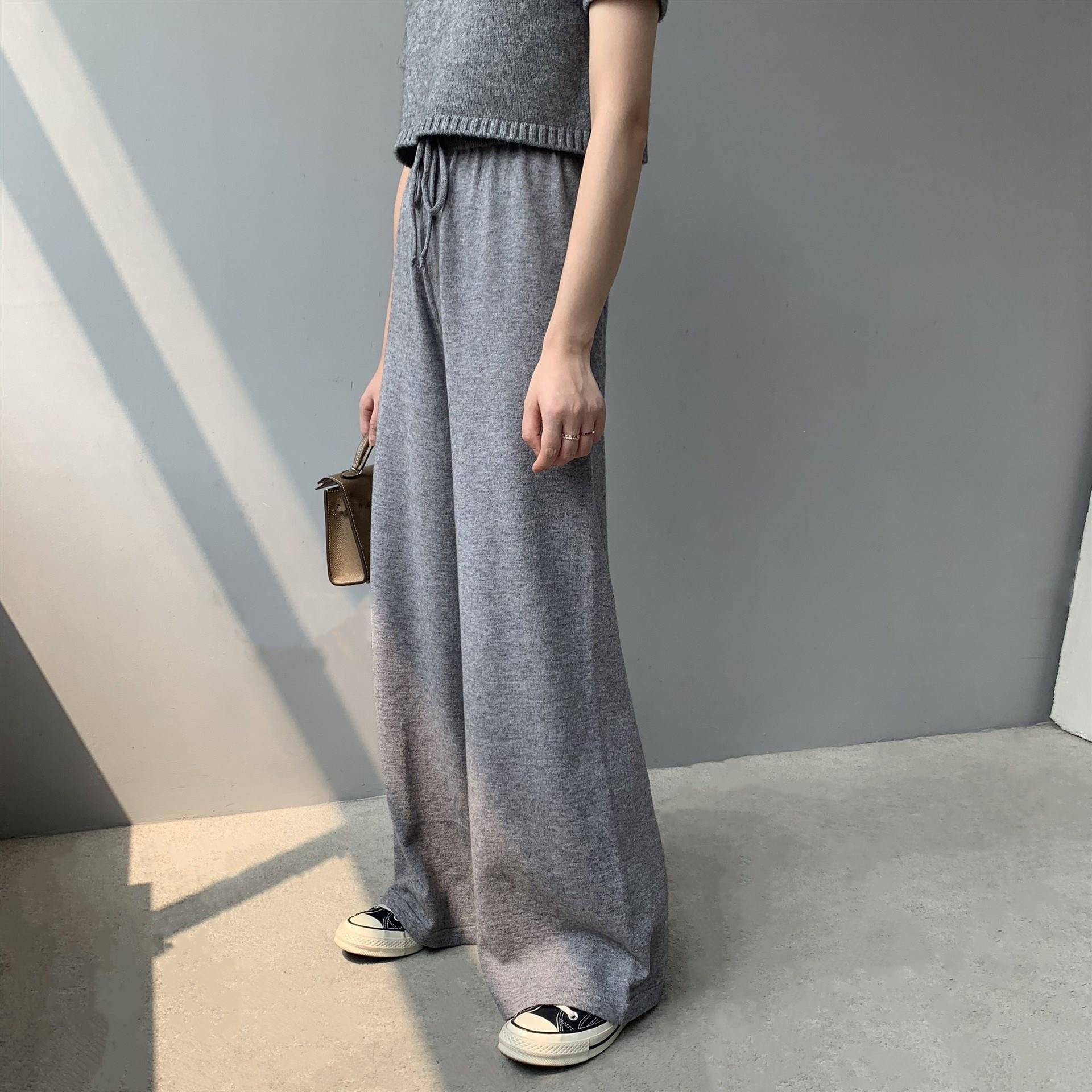 Autumn Casual High Waist   Wide     Leg     Pants   Winter Solid Color Straight Knitted   Pants   Loose Trousers