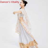 Indian Dance Embroidered Top Perspective Veil Skirt 3pcs Set Stage Wear Sari Belly Oriental Dance Performance Costume Stage Wear