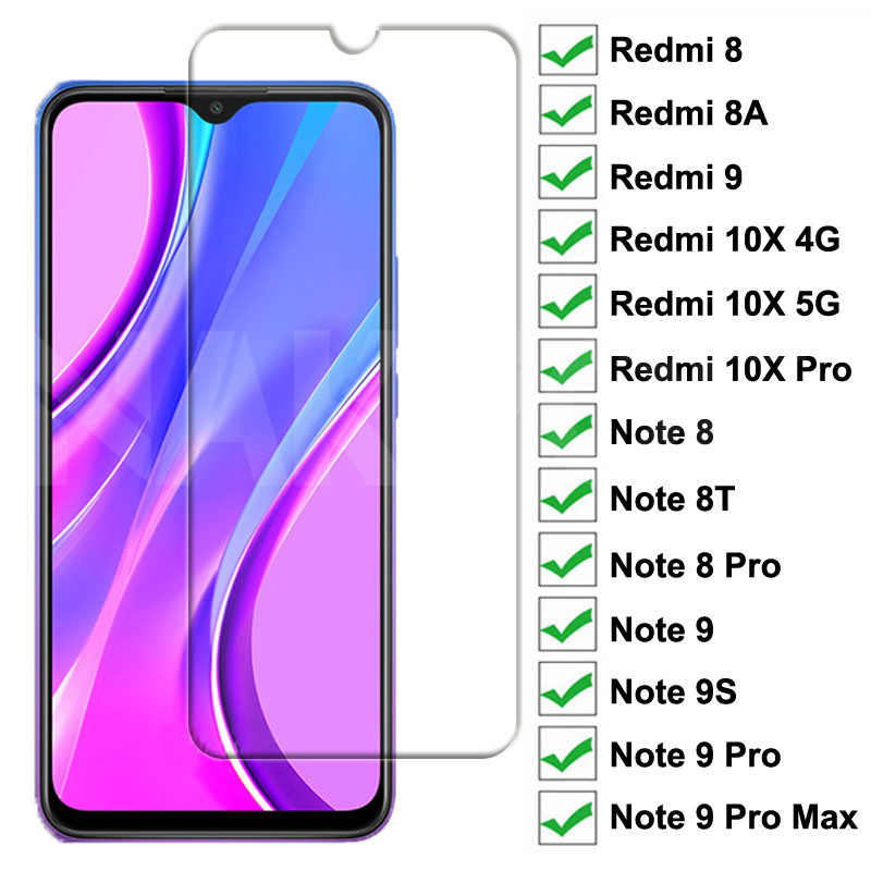 9H Tempered Glass For Xiaomi Redmi 9 8 8A 10X Screen Protector Glass Redmi 10X Note 8 8T 9S 9 Pro Max Safety Protective Glass(China)