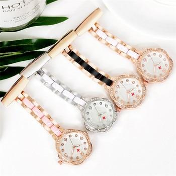 Flower Shaped Nurse Watches Set with rhinestones Brooch Buckle Nurse Doctor Pocket Watch Gifts Clock