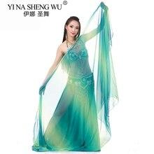 Oryantal dans kostümleri şifon peçe ipek gibi Bollywood sahne performansı dans eşarp şal 250cm * 120cm dans aksesuarları Veils