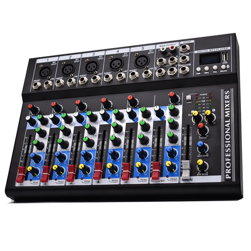 Professional 7 Channel Bluetooth Audio Mixer 6 Music Modes USB High Bass Mixing Console MP3 Karaoke Amplifier DJ Equipment