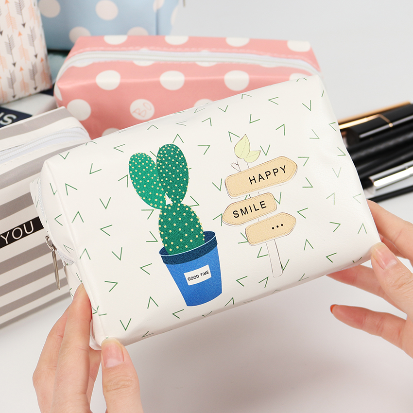 Cute Cactus Lady Zipper Cosmetic Bag PU Leather Travel Toiletry Storage Bag Pouch Women Trip Makeup Bag Neceser