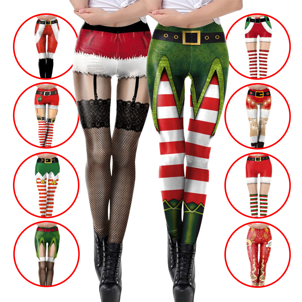 NADANBAO Christmas Leggings For Women New Year Leggins 3D Printed Workout Legin Festival Legging Elastic Slim Plus Size