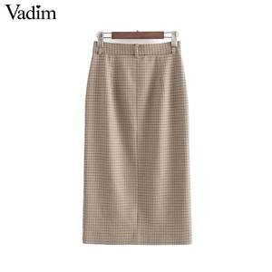 Image 2 - Vadim elegante para mujer houndstooth plaid midi falda cremallera fly bolsillos dividido a cuadros mujer Oficina wear chic faldas BA895
