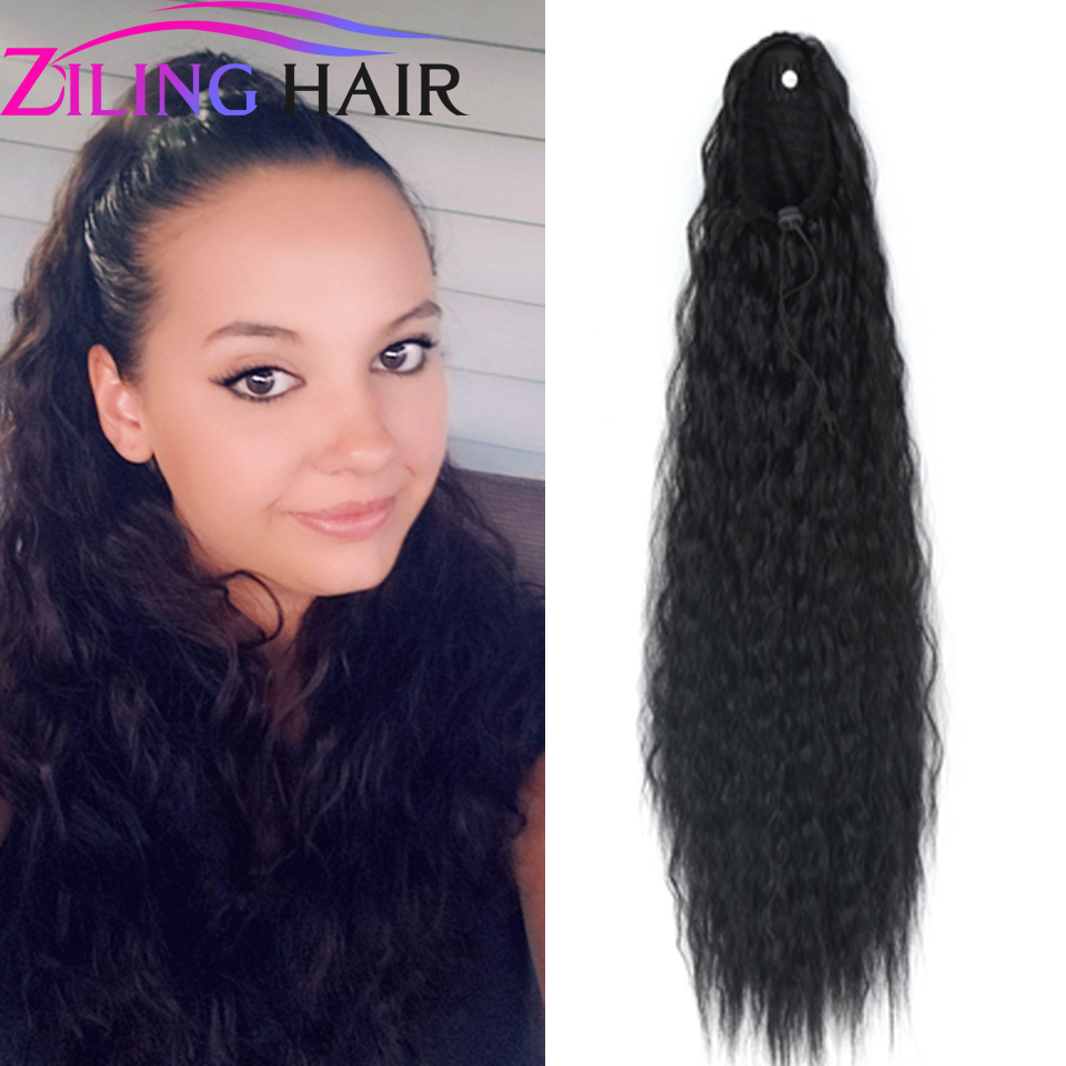 22 Inch Long Synthetic Ponytail Hair Extension Clip Afro Hair Piece With Drawstring Hair Bands For Women Pigtails  Extensions