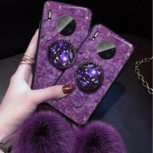 Сусального золота драгоценный камень чехол для телефона для huawei P20 P30 Коврики 10 20 30 lite рro 20X Nova 3 3i 5T Honor 6X 7A 7C 8A 8X 8C из мягкой искусственной кожи (...