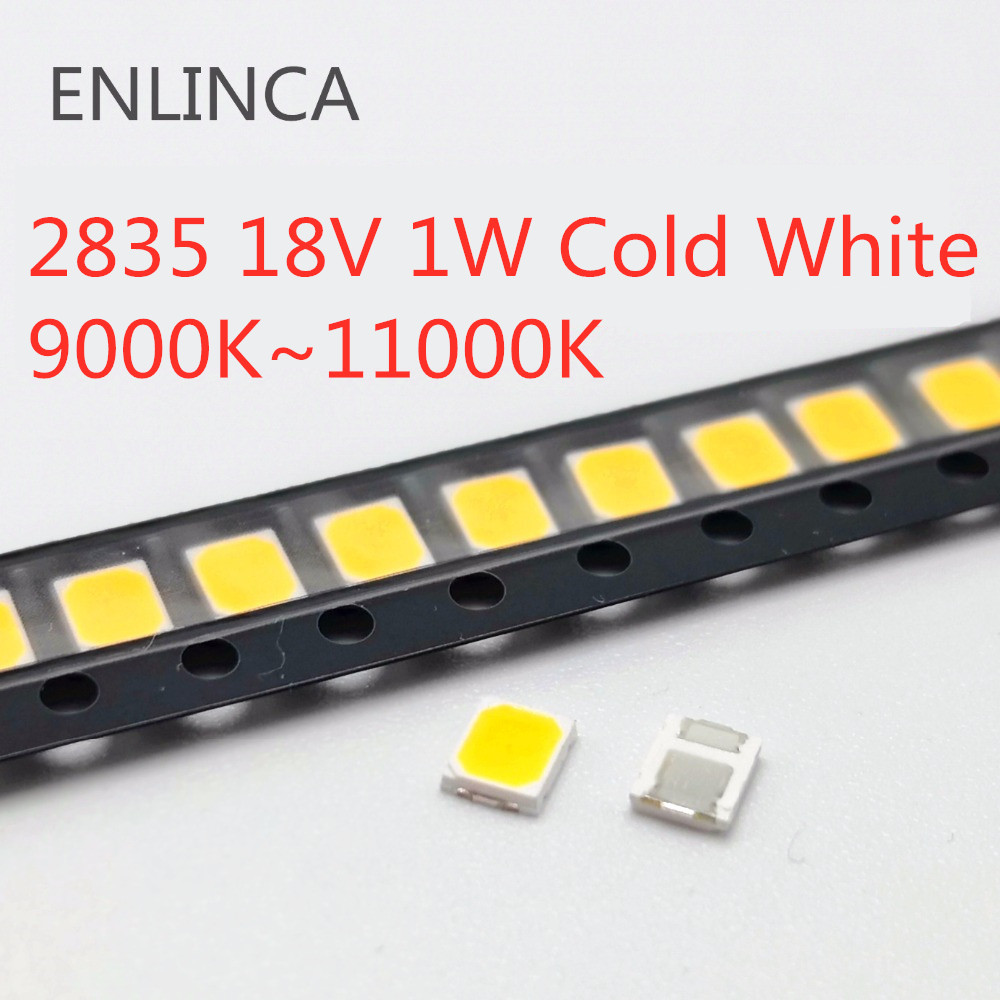 50-500pcs <font><b>SMD</b></font> <font><b>LED</b></font> 2835 18V <font><b>1W</b></font> Cold beads light Cool White 9000K- 11000K <font><b>1W</b></font> 130LM Surface Mount PCB Light Emitting <font><b>Diode</b></font> image