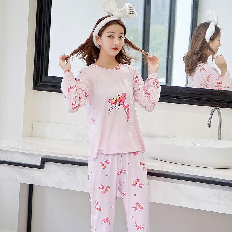 Sweet Pajamas Women Long Sleeve Spring And Autumn Cartoon Cute Pink Panther Students Homewear Set