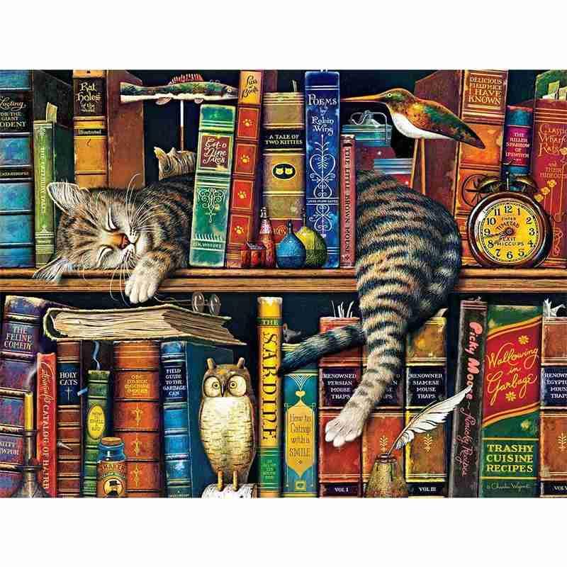 Sleepy cat 1000 peça quebra-cabeça para adultos crianças aprendendo quebra-cabeças educacionais